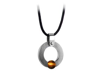 Men's Necklace with Tension Set Tiger Eye in Stainless Steel