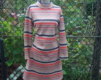 Vintage 1960s Autumn Striped Long Sleeve Secretary Dress by Neusteters M/L
