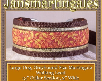 Jansmartingales, Brown Walking Lead, Collar and Lead Combination, Greyhound, Large Dog Size, Brn117