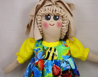 Plastic Bag Holder Doll , Tropical Fish, Grocery Bag Holder, Country Decor, Kitchen Storage, Rustic Kitchen, Tropical Decoration, Recycle