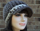 Crochet Womens Newsboy Hat, Crochet Womens Newsboy Cap, Crochet Billed Hat, Crochet Womens Brown Newsboy Cap Beanie
