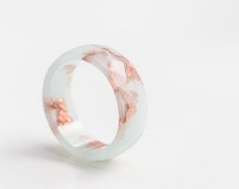 Pastel Mint Resin Ring Men Women Ring Gold Flakes Big Size 10 Faceted Ring OOAK minimalist jewelry