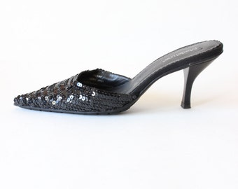 Vintage Black Sequin Pointy Toe High Heel Mules, size 8