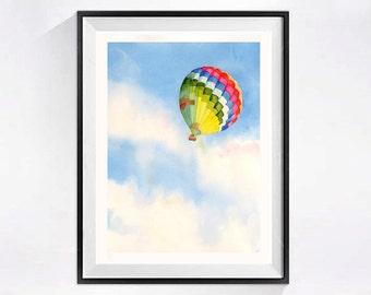 Watercolor Painting Hot Air Balloon Art Prints wall art wall decor watercolor prints sky clouds artwork flying, 63