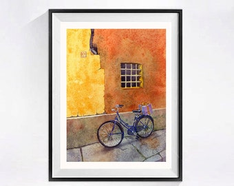 Bicycle Art Print Travel Art Watercolor Bike Print l wall art  Florence Italy Laberge Muren Studio