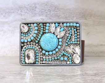 Western Buckle with Turquoise & Rhinestones-Cowgirl Rodeo Womens Belt Buckle Native American Inspired 4166BUCK