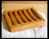 Soap Dish Draining • Beech Wood Curved Slat Soap Tray Dish • Modern Bathroom Decor •  For Men, Women • Soap Accessory for Gift Basket
