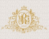 Regal Crest - Vintage Custom Wedding Monogram - Wedding Logo - Wedding Crest