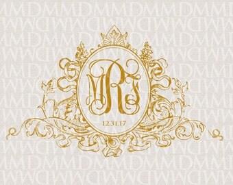 Regal Crest - Vintage Custom Wedding Monogram - Wedding Logo - Wedding Crest