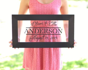 Personalized Family Sign Wedding Christmas Holiday Bridal Shower Gift Custom Home Decor