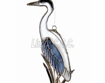 Stained Glass Heron Sun catcher