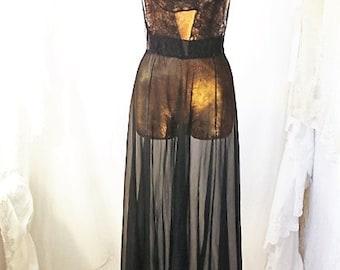 Medium Gothic Lingerie Black Dress/Slip Dress/Black Lace Fairy/Vintage Black slip/Vintage Lingerie/Gothic Dress/1950 Kim Novak lingerie sexy