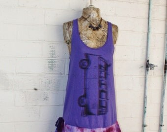 Small/Med Volkswagon Van Babydoll Dress/Upcycled Clothing/ Summer Mini Dress/Lavender/Shabby Chic Dress/beach dress/Purple Volkswagon Bus