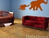 Mom and Baby Elephant Wall Decal