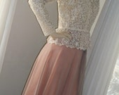Vintage 1940s Lace and Chiffon Swing Dancing Dress Mint Cond Lovely Size M