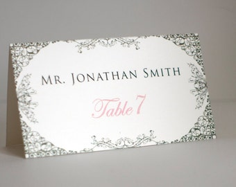 Silver Gray, Blush Pink and White Wedding Place Cards  - Escort Cards with Guest Names and Tables