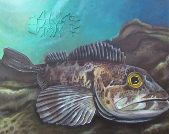 Original acrylic painting - 42 X 58.5 inches - Lingcod