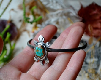 Blue Gem Turquoise Turtle Totem Silver Cuff