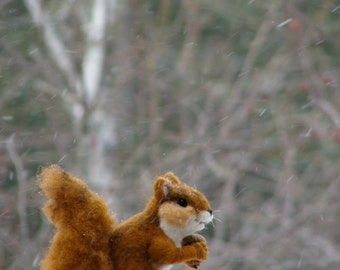 MADE TO ORDER Needle felted Animal Squirrel - Red Squirrel Needlefelted Soft Sculpture Animal by Bella McBride