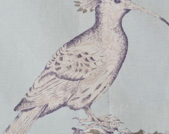 Linen Fabric - Birds and Topiary on Robins Egg Blue - 54 x 88 Curtain Panel