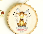 Gift Under 15 dollars - Baby's First Christmas Ornament - Moose Ornament NEW 2016 Collection - XMAS013