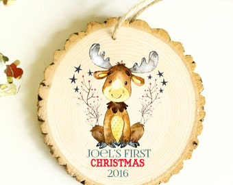 Gift Under 15 dollars - Baby's First Christmas Ornament - Moose Ornament - My First Christmas Ornament, First Christmas - XMAS013