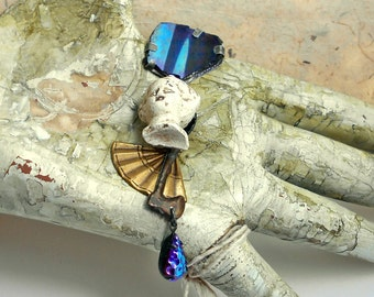When She Saw What She Had Done Assemblage Single Earring