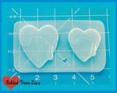 SALE 2 sizes Dripping frosted Hearts Handmade Flexible Plastic Resin Mold