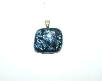 Handmade Deep Blue Dichroic Fused Glass Pendant