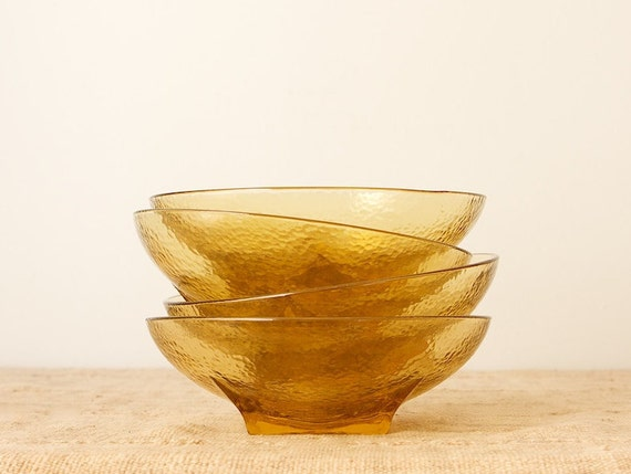 CLEARANCE Vintage Colony Square Amber Serving Bowl Set by Hazel Atlas, Set of 4, Mid Century Modern