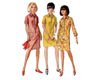 1960s Shirt Dress Pattern Basic Shirtdress Mini or Day Straight Dress Short or Long Sleeve Simplicity 6970 Bust 36 Vintage Sewing Pattern