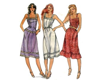 1980s Sundress Pattern Camisole Dress or Top and Skirt Tucked Front Ruffle Hem Button Front Butterick 3168 Bust 32 Vintage Sewing Pattern