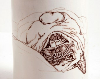 Laughing Upside Down Fawn Pug Round White and Blue Tumbler Vase Pencil Holder