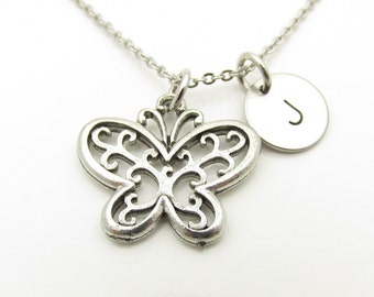 Butterfly Necklace, Intricate Butterfly Necklace, Filigree Butterfly, Antique Silver, Personalized, Monogram, Initial Necklace Y386