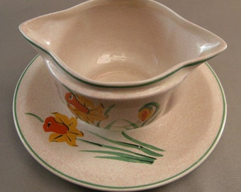 Vintage Ridgways Gravy,Ridgway Sunshine Ware pattern Double Gravy w/ Hand painted Flowers and Attached Underplate,Art Deco Serving Bowls