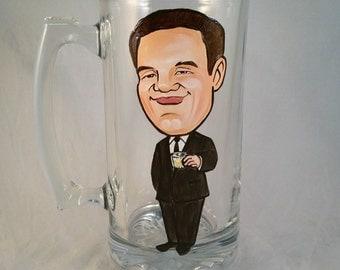 Premium Cool Groomsmen Gift - Best Man -Full Body - Color - Original Caricature Beer Mug - Hand Painted Beer Mug