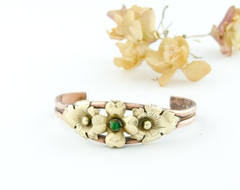 Vintage Copper Cuff Bracelet | Brass Flower Copper Bracelet