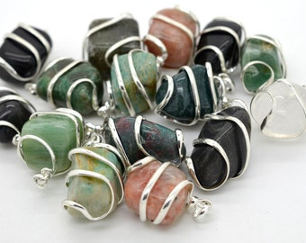 Tumbled Stone Pendants, Set of 3, Mixed Natural Stones, 28x16x12mm, Wire Wrapped Pendants -P267
