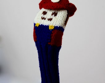 SALE, Super Mario, Golf Club Cover, Golf Headcover, Golf Head Cover, Knit, Knitted Golf Headcovers, Gifts For Men, Golf Gift, Mario