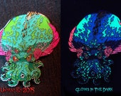 Cthulhu Hatpin and signed prints by Undead Ed Glows in the Dark