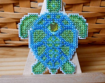 Sea Turtle Cross Stitched and Beaded Ornament, Magnet, or Pin - Free U.S. Shipping