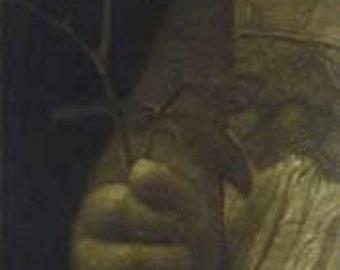 "Original art print ""Alina's Rose"". Mezzotint Edition of 100. Hands of a girl holding a rose."