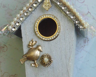 Shabby Upcycled Birdhouse Ornament Christmas Home Decor Gift