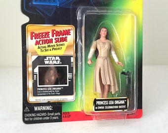 Star Wars Figure Princess Leia, Ewok Celebration Outfit - 1990's Kenner Star Wars Action Figure, Return of the Jedi - Ready to Gift