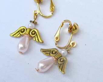 Gold clip on earrings,  Christmas angel earrings, pink dangle