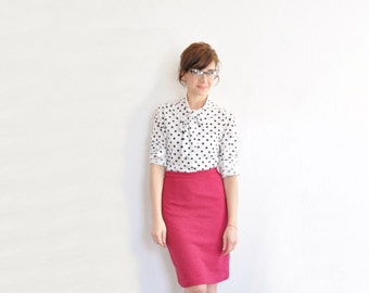 bow tie polka dot print blouse . classic white black secretary shirt .medium