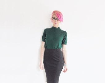 forest green sweater blouse . preppy as all GET OUT, ladies .small.medium