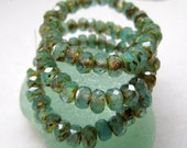 NEW RUSTIC SKY. Czech Faceted Picasso Glass Rondelles (30 beads) 3 m by 5 mm