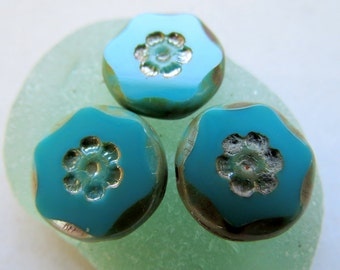 NEW Turquoise DAISY COINS . Czech Picasso Glass Beads . 15 mm (6 beads)