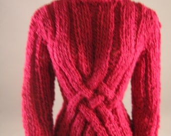 """Doll Clothes Cranberry Cable Motif Sweater Hand Knit fits 16"""" doll such as Tonner dolls"""